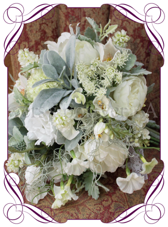 image of artificial flower garden pick white textured bridal bouquet