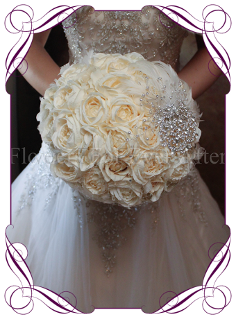 silk flowers,feather, brooch bouquet