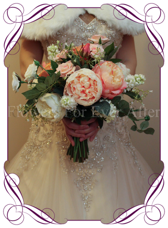 silk bridal bouquet with apricot, coral and white peonies, in a romantic garden picked look. Rustic style bridal bouquet perfect for outdoor weddings