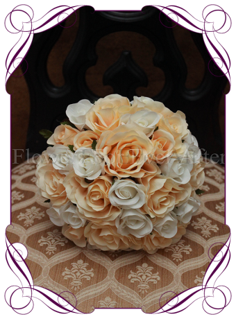 Peach Silk Rose Bridesmaid Bouquet