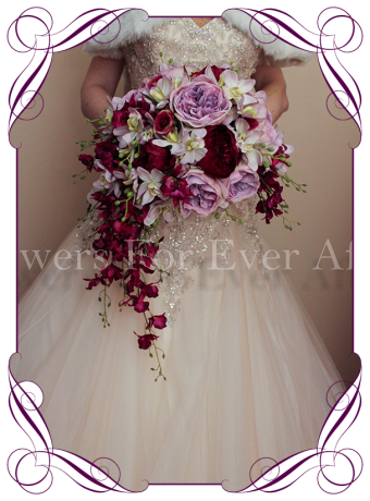 Silk vintage inspired mauve and magenta crescent flower bouquet, artificial orchids david austin roses, romantic unusual bouquet melbourne