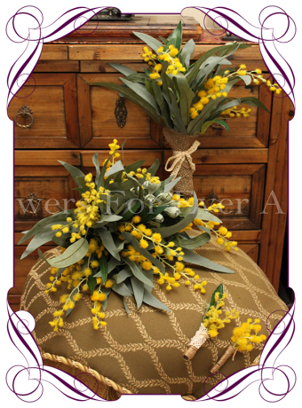 silk australian native wattle bridal flower package rustic bush wedding flowerß