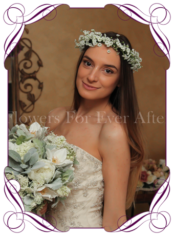 Silk Artificial dainty rustic baby's breath Flower crown halo