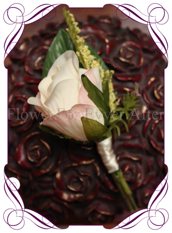 silk rose groomsmen button