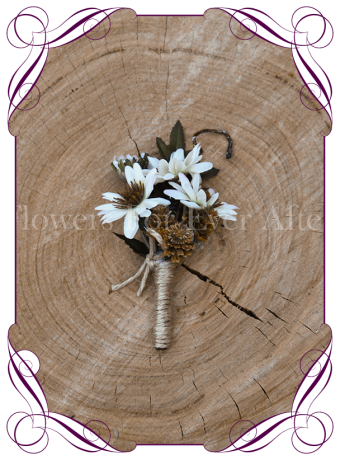 silk daisy boutonniere rustic wedding