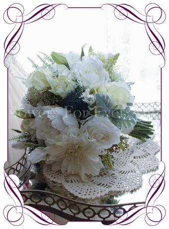 A perfect texture vintage posy in high grade silk artificial wedding flowers. With hints of mauves and blue this design will look amazing in front of navy or green bridesmaid dresses