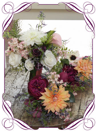 Rustic silk artificial flower bridal bouquet set with peony dahlia, roses, calla lilies in pink, apricot and purple. Bridesmaids posy, bridesmaid bouquet