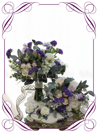 A garden rustic silk flower bridal bouquet package / set in purple, ivory, lilac, and blush pink. Made in Melbourne. Shipping world wide