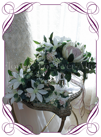 Silk artificial bridal package with white clematis, blush pink lilacs, king protea and Australian native gum and eucalypt.