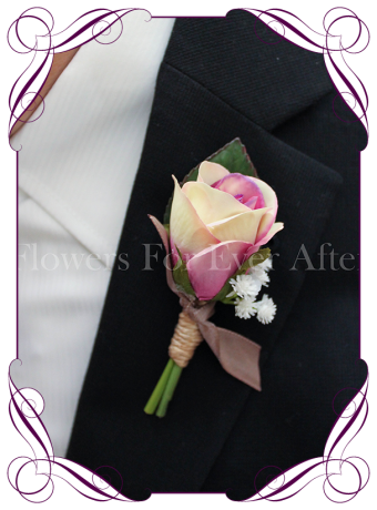 rustic silk wedding flower gent / groomsmens button boutonniere. Rose and baby's breath