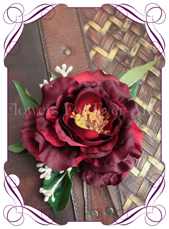 Burgundy silk rose bridal hair comb