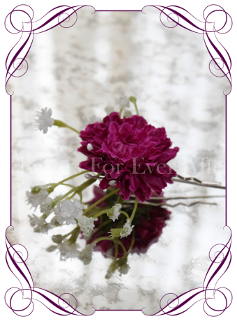 Magenta fuchsia pink and baby's breath silk artificial hair flower on pin.