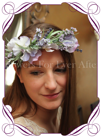 Lavender and sweet pea rustic boho silk artificial flower crown