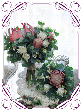 Australian native silk artificial protea and gum bridal bouquet package. Made in Melbourne. Shipping worldwide