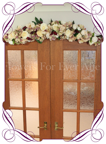 vintage pastel rose and hydrangea silk artificial flower wedding arbor / arbour