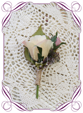 rustic champagne cream and mauve pink silk wedding flower gent / grooms button boutonniere.