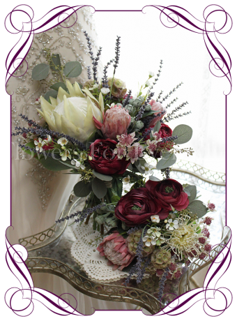An elegant artificial bridal bouquet set / package with silk protea, burgundy peony and lavender. Loose rustic silk bouquet, boho style. Made in Australia. Buy online, ship worldwide