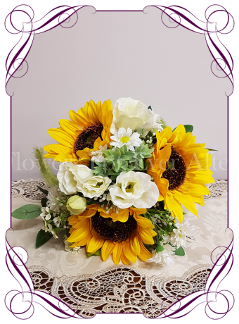 Silk artificial sunflower and white daisy boho country rustic bridesmaids wedding bouquet posy. Made in Melbourne. Shipping worldwide