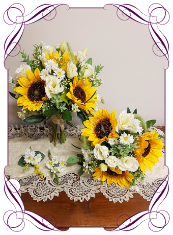 Silk artificial yellow sunflower and white daisy boho country rustic bridal wedding bouquet posy set / package. Made in Melbourne. Shipping worldwide