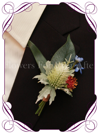 Silk artificial natives and thistle gents boutonniere / wedding button with red gum and blue wax flower. Made in Melbourne. Shipping worldwide