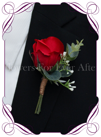 silk artificial baby's breath and red rose formal / deb / prom / wedding gents grooms button boutonniere . Shipping world wide. Made in Melbourne Australia.