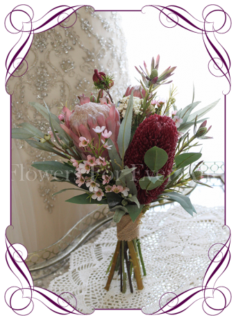 High quality realistic silk artificial bridesmaid posy wedding bouquet with burgundy banksia, dusty pink protea, mix Australian native flowers and gum leaves. Made in Melbourne Australia, shipped world wide. Buy online.