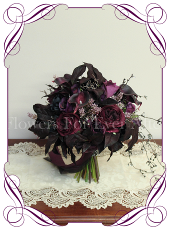 Silk artificial unusual dark goth style wedding bridal bouquet. Perfect for brides with gothic theme weddings or for those in love with dark purples and black flowers. Made in Australia. Ship worldwide. Buy online.