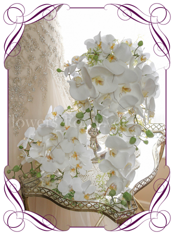 Contemporary simple falling phalaenopsis orchid cascading white bridal bouquet set / package silk artificial wedding flowers. Real touch orchids in a modern tear bouquet. Made in Australia. Shipping worldwide. Buy online