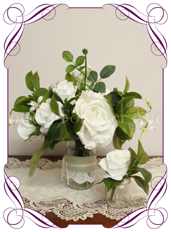 Silk artificial white roses and baby's breath with foliage, wedding / engagement / kitchen tea table posy decoration centrepiece for small vase, fishbowl or mason jar. Made in Australia. Shipped worldwide. Buy online.