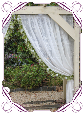 Silk artificial white rose and baby's breath wedding arbor arch table decoration. Can be a package with matching tieback flowers. Made in Australia. Buy online.