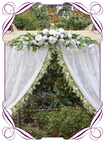Silk artificial white peony rose and Baby's breath wedding arbor arch table decoration. Can be a package with matching tieback flowers. Made in Australia. Buy online.