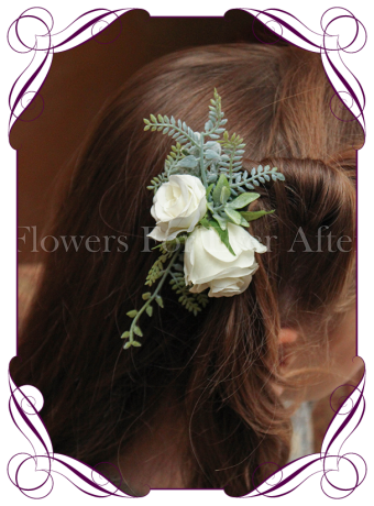Silk artificial boho rustic wedding hair floral comb with white roses and silver fern foliage.