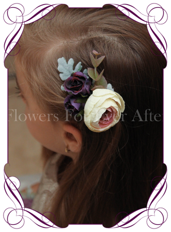 Silk artificial boho rustic wedding hair floral comb with a cream pink ranunculi, deep purple roses and silver foliage.