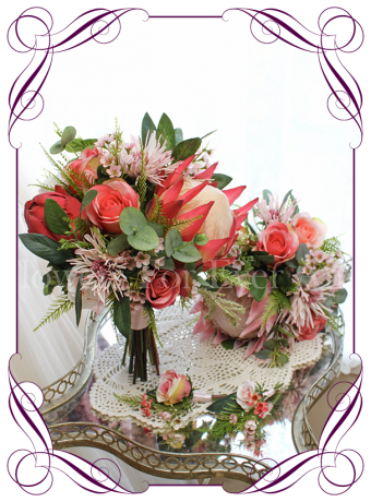 Silk artificial coral and pink roses and protea vibrant native bouquet. Buy online. Package set