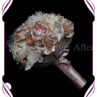 vintage glamour bridesmaid bouquet, this design is made entirely with fabric and handmade flowers. With laces, crystals and pearls throughout. brooch bouquet, bling bouquet, vintage brooch