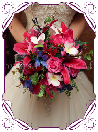pink purple textured lily silk bridal bouquet