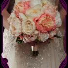 artificial coral peony bridal bouquet