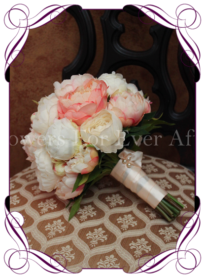 artificial coral peony bridal bouquet