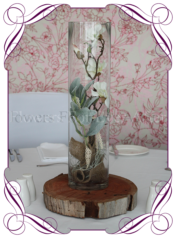 Hire Rustic Magnolia Vase On Wooden Base Flowers For Ever After