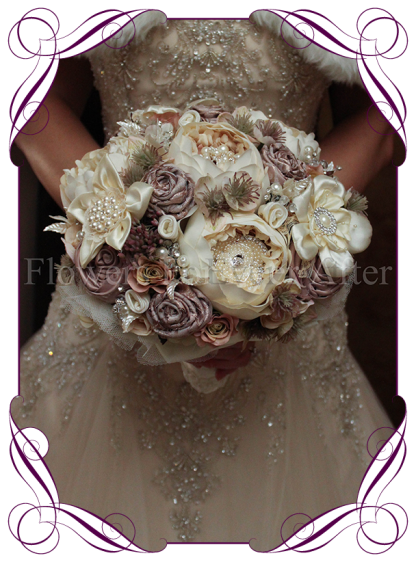 image of handmade fabric flowers peony vintage pearl bouquet