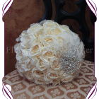 image of cream artificial rose brooch feather elegant bridal bouquet