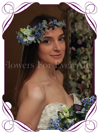 Silk Artificial blue Flower crown halo