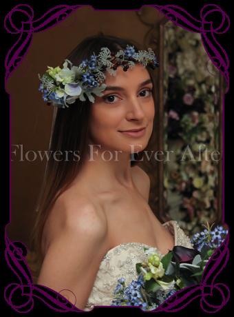 Silk Artificial blue Flower crown halo