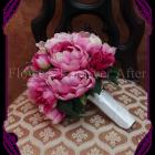 Silk fuschia peony bouquet, fake bridal flowers