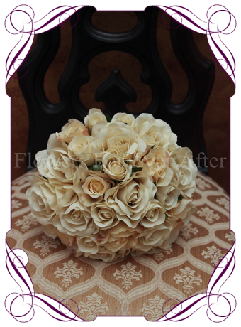 artificial silk champagne rose bridal wedding bouquet