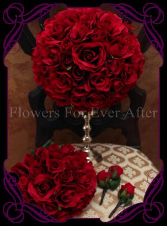 silk red rose elegant bridal package
