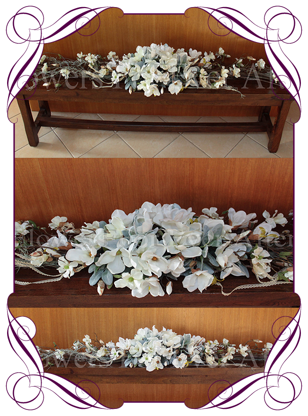 Hire rustic white magnolia garland 27mt flowers for ever after wedding hire melbourne wedding decorations melbourne white table decorations bridal table junglespirit Gallery