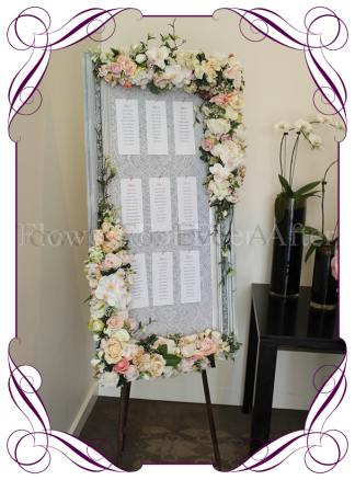 Floral wedding guest seating board on stand for hire to Melbourne and surrounds