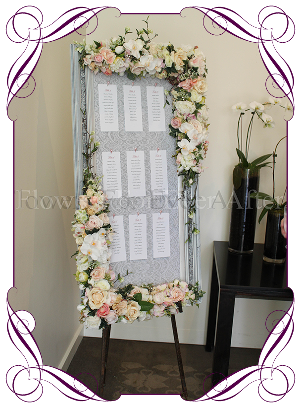 Hire vintage pastel table seating frame photo board flowers for floral wedding guest seating board on stand for hire to melbourne and surrounds mightylinksfo