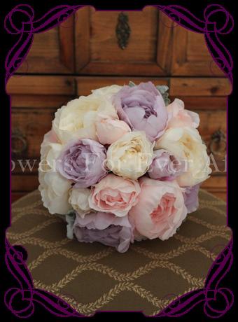 Artificial peony bridal bouquets, romantic silk peony wedding flowers melbourne